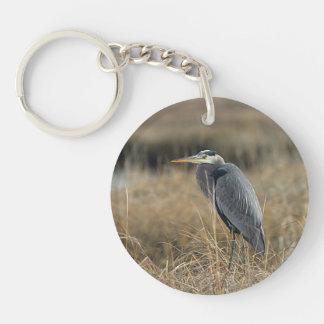 Great blue heron Double-Sided round acrylic key ring