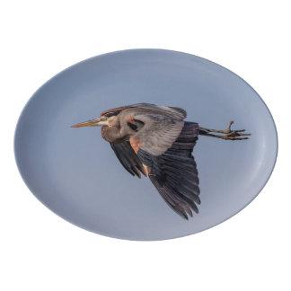 Great Blue Heron in flight Porcelain Serving Platter