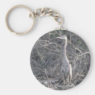Great Blue Heron Basic Round Button Key Ring