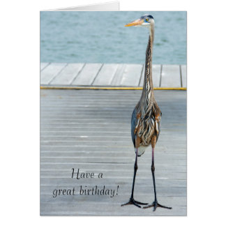 Great Blue Heron on dock Card