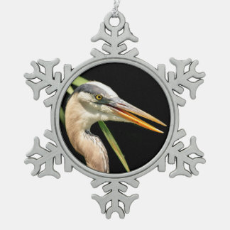 Great Blue Heron Pewter Snowflake Decoration