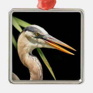 Great Blue Heron Silver-Colored Square Decoration