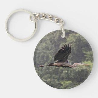 Great Blue Heron Single-Sided Round Acrylic Key Ring