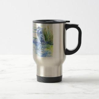 Great Blue Heron Wades in the Marsh Stainless Steel Travel Mug