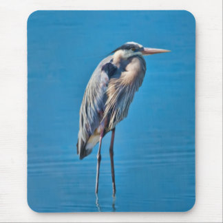 Great Blue Heron Wading at the Pond Mouse Pad