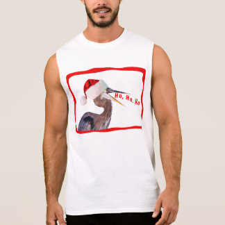 Great Blue Heron with Santa Hat Sleeveless Shirt