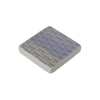 great braided basket, blue stripes stone magnet