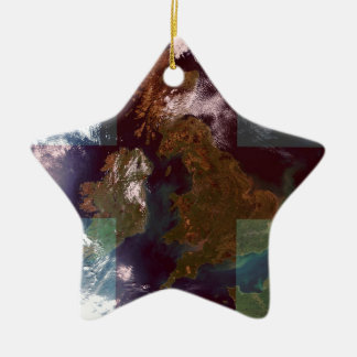 Great Bretain from Space and Flag. Ceramic Star Decoration