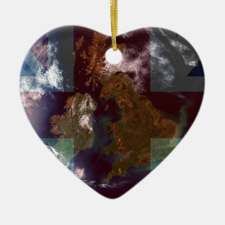 Great Bretain from Space and Flag. Christmas Ornament