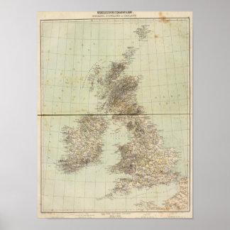 Great Britain Atlas Map Poster