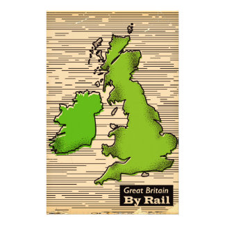 Great Britain By Rail travel poster Stationery