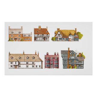Great Britain. Countryside houses Poster