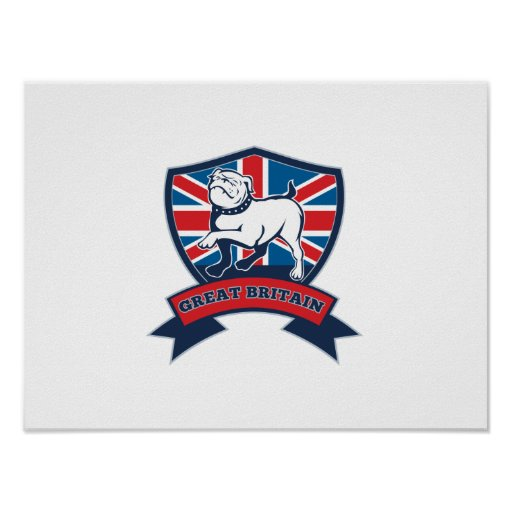 Great Britain English bulldog team shield Print
