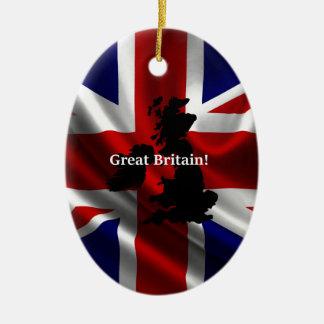 Great Britain Flag Ceramic Oval Decoration