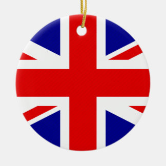 Great Britain Flag Double-Sided Ceramic Round Christmas Ornament
