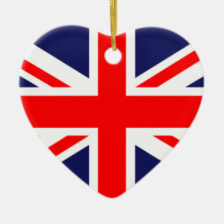Great Britain Flag Double-Sided Heart Ceramic Christmas Ornament