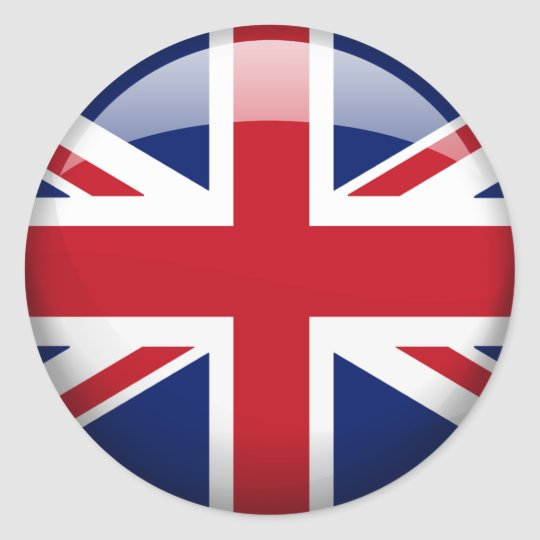 Great Britain Flag in Glass (pack) Classic Round