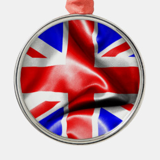 Great Britain Flag Silver-Colored Round Decoration
