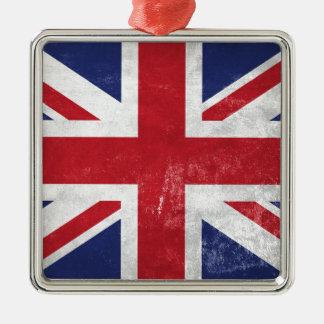 Great Britain Flag Silver-Colored Square Decoration