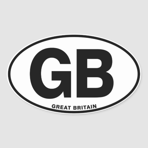 Great Britain GB Oval International ID Code Letter Oval Stickers
