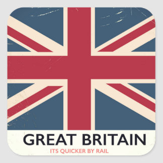 """Great Britain """"Its quicker by rail"""" vintage poster Square Sticker"""