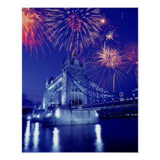 Great Britain, London. Fireworks over the Tower Poster