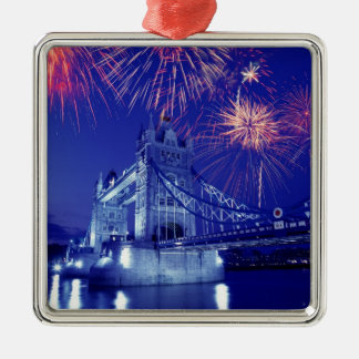 Great Britain, London. Fireworks over the Tower Silver-Colored Square Decoration