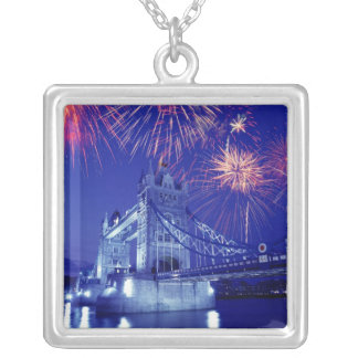 Great Britain, London. Fireworks over the Tower Silver Plated Necklace