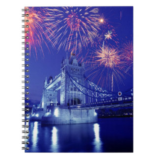 Great Britain, London. Fireworks over the Tower Spiral Notebooks