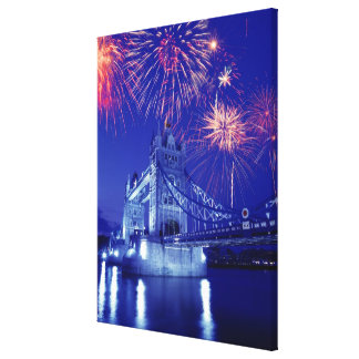 Great Britain, London. Fireworks over the Tower Stretched Canvas Prints