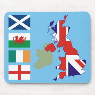 Great Britain Map and Flags Mouse Mat