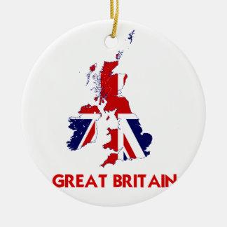 GREAT BRITAIN MAP ROUND CERAMIC DECORATION