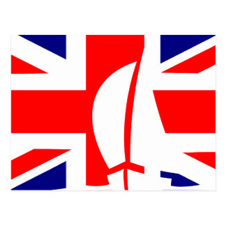 Great Britain U.K. Flag Sailing Boat Nautical Postcard