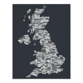 Great Britain UK City Text Map 11 Cm X 14 Cm Invitation Card