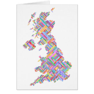 Great Britain UK City Text Map Card