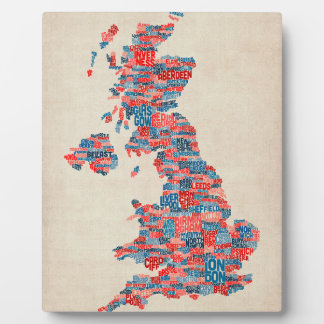 Great Britain UK City Text Map Display Plaques