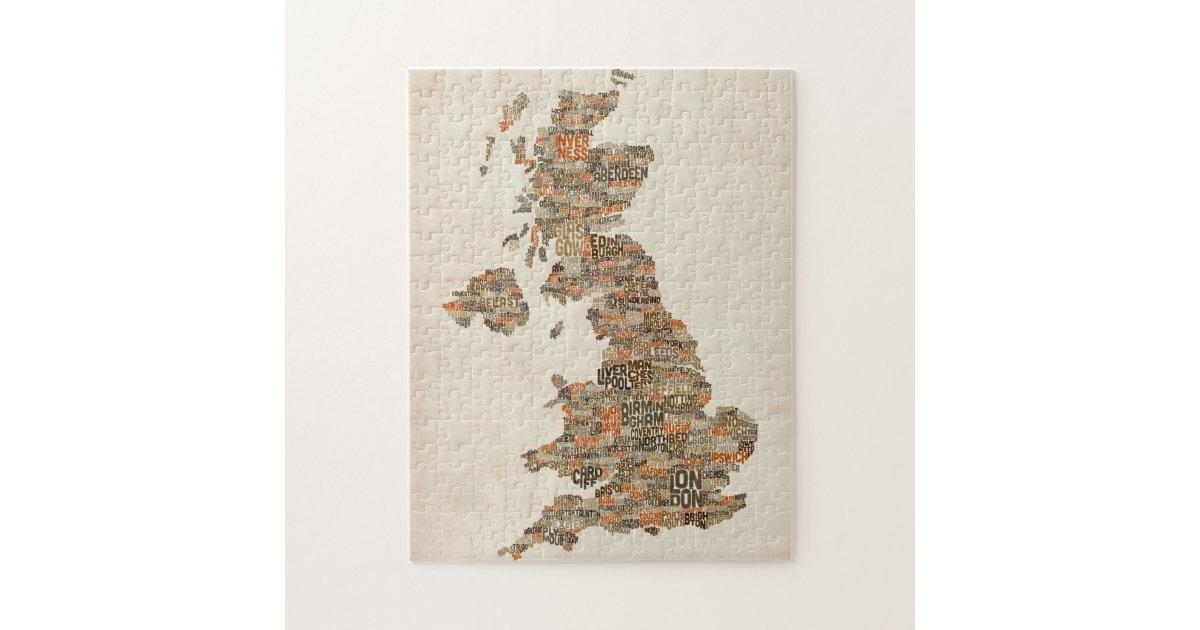 Great Britain UK City Text Map Jigsaw Puzzle | Zazzle.co.uk