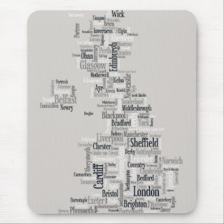 Great Britain UK City Text Map Mouse Mat