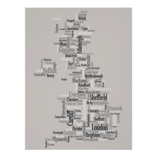 Great Britain UK City Text Map Print