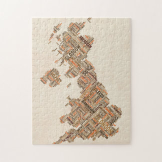 Great Britain UK City Text Map Puzzle