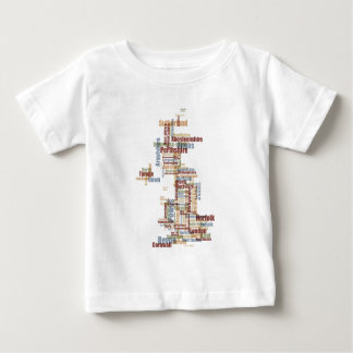 Great Britain UK County Text Map Baby T-Shirt