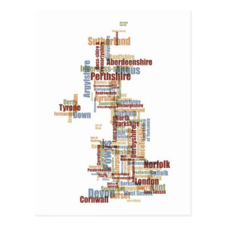Great Britain UK County Text Map Postcard