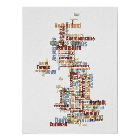 Great Britain UK County Text Map Poster