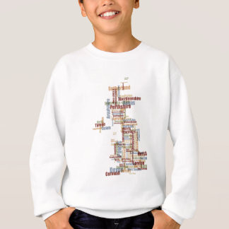 Great Britain UK County Text Map Sweatshirt