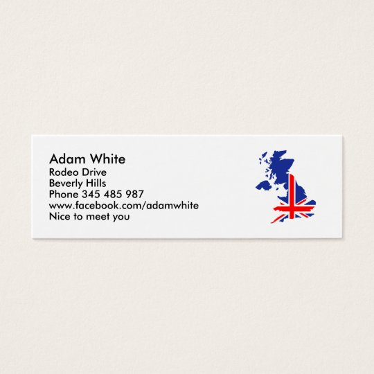 Great Britain UK map flag Mini Business Card
