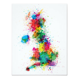 Great Britain UK Map Paint Splashes Card