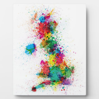 Great Britain UK Map Paint Splashes Plaque