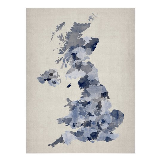 Great Britain UK Watercolor Map Poster