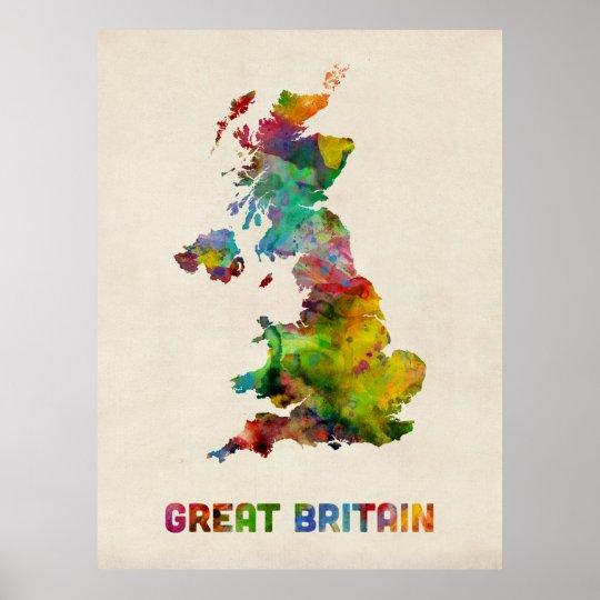Great Britain Watercolor Map Poster