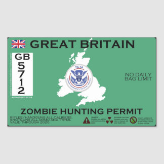 Great Britain Zombie Hunting Permit Rectangular Sticker